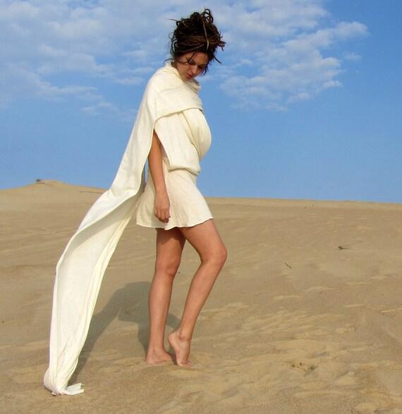 Hemp Love Me 2 Times Sari Mini Dress - ( light hemp and organic cotton knit )- organic sari dress
