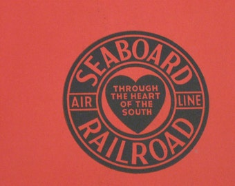 1940s Red Seaboard Railroad Luggage Tag