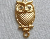 SPECIAL Owl Pendant with Clear Crystal Eyes, Gold Plated