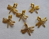 6 Dragonfly Charms, Matte Gold Plated
