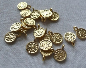 20 Mini Coin Charms, 22K Gold Plated
