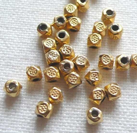 30 Flower Stamped Beads, 22 Karat Gold Plated