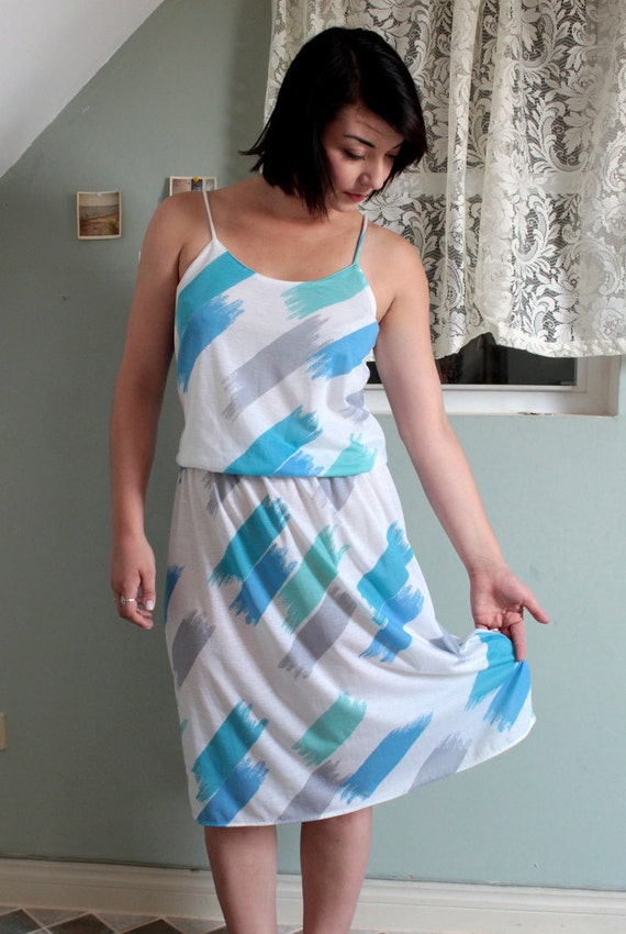ENDLESS SUMMER Spaghetti Strap Plus Size Dress . Paint Abstract Design . Lining Breezy Patio . xl xxl large . sleeveless 80s 1980s 1970s