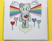 """Teddy Loveless """"Rainbow"""" set of 3 note cards with envelopes"""
