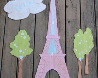 EIFFEL TOWER PARIS Wood Growth Chart Mural - Original Hand Crafted Hand Painted Keepsake