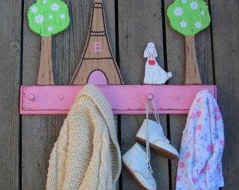 PARIS EIFFEL TOWER Clothing Rack - Original Hand Painted Wood - Custom Initial