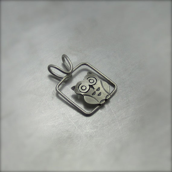 Small Cubed Silver Owl Necklace - By Beth Millner