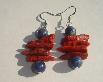 Pierced Earrings coral and sodalite stack pierced dangle hand made earrings