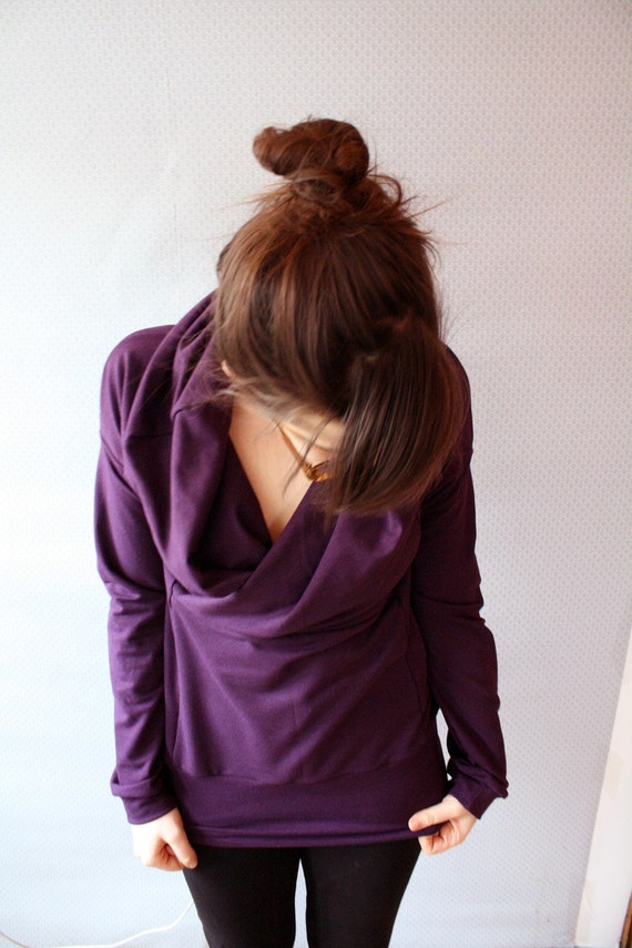 ready to ship // short sleeved cowl tee / bamboo jersey / by replicca / size medium / plum purple