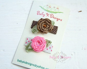 Newborn Hair Clip . Baby Bow Clip .Mini Snap Clip . Itty Bitty PIPPA Two Pack Small Rolled Satin Flower / Baby Hair Clip