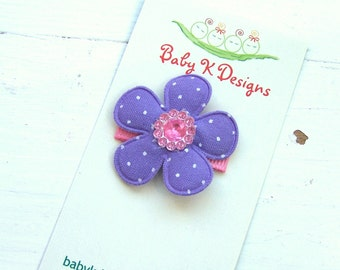 Baby Bow/ Baby Snap Clips / Itty Bitty Clips / Infant Clips / Girls Bows / No Slip Hair Clip / Purple Pink n White Polka Dot  Flower Clip