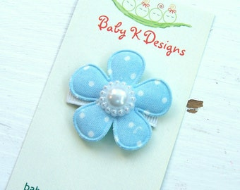 Baby Bow/ Baby Snap Clips / Itty Bitty Clips / Infant Clips / Girls Bows / Hair Clip / Light Blue Polka Dot  Flower Clip