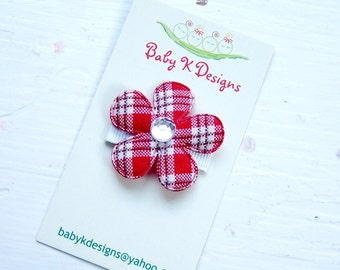 Red Plaid Baby Bow / Baby Snap Clips / Itty Bitty Clips / Infant Clips / Girls Red Bows / Hair Clip / Tartan Red Plaid Flower Clip