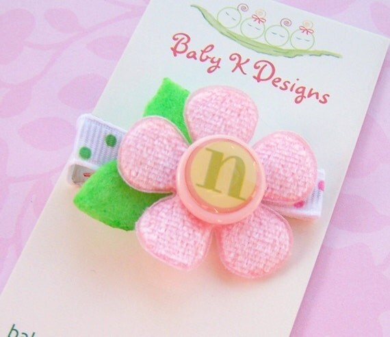 Toddler Clips / Infant Clips / Baby Bows / Personalized Initial Flower Custom Clippies/Baby and Toddler Girls No Slip Clips
