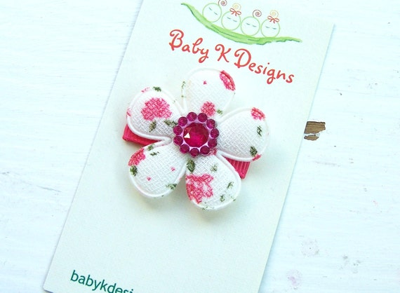 Baby Bow/ Baby Snap Clips / Itty Bitty Clips / Infant Clips / Girls Bows / No Slip Hair Clip / Shabby Chic Jeweled  Flower Clip
