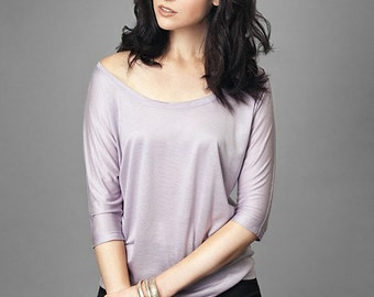 SALE Tencel Drapey Scoop Neck Batwing Lyocell Top // Large in Lilac // Made in USA