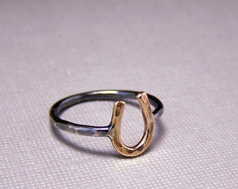 Gold Sterling Silver Horseshoe Ring
