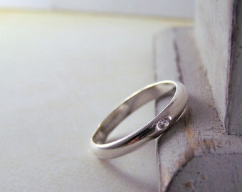 Sterling Silver Gemstone Ring Band - Simple wedding band
