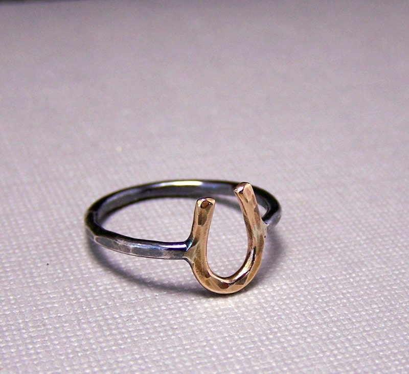gold sterling silver horseshoe ring by moodichic on etsy