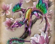 Season of the Drakon.. Dragon... Print... Fantasy Art...Spring Dragon on Magnolia .. Bold