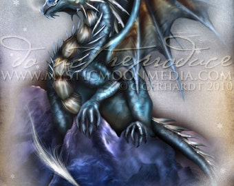 Season of the Drakon.. Blue Dragon... Print... Fantasy Art...Winter Dragon with Snow .. Bold
