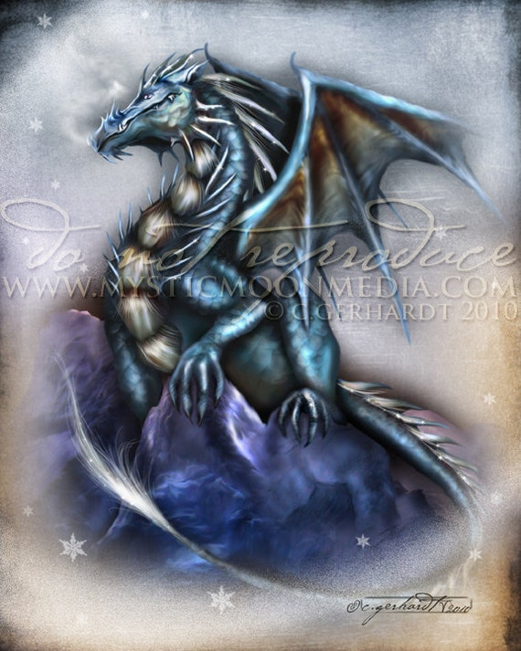 Season of the Drakon.. Blue Dragon... Print... Fantasy Art...Winter Dragon with Snow .. Bold