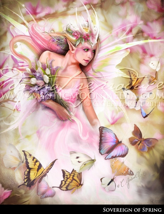 Sovereign Of Spring... Spring Queen Fairy... Print... Fantasy Picture...Fairy art