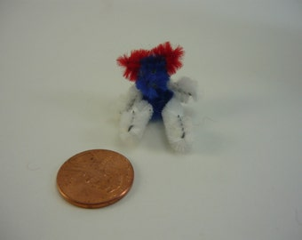 Patriotic Bear Tiny Teddy Dollhouse Miniature Red White Blue Doll House Printers Drawer