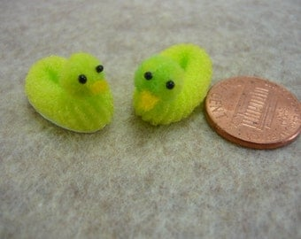 Lime Green Ducky Slippers Dollhouse Miniature 1 - 12 scale Duckie's for Fairy House's, Doll House's, or Printers Drawers