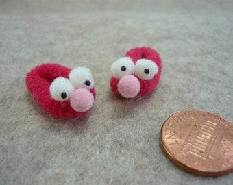 Reddish Googlie Eyed Monster Slippers Dollhouse Miniature 1 - 12 scale for Doll House's, Fairy House's, or printers drawer