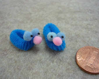 Miniature Blue Googlie Eyed Monster Slippers Dollhouse Mini 1 - 12 scale for Doll House, Printers Drawer, or Fairy House