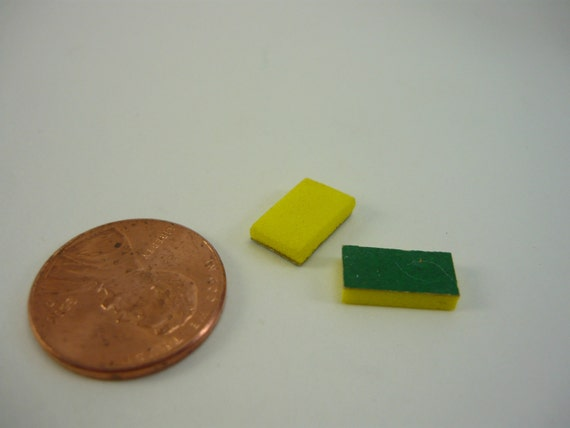 Green and Yellow Sponge Scrubbers Dollhouse Miniature doll house printers drawer