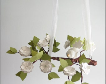 White Flower and Baby Bird Baby Mobile- Baby Mobile- Nursery Mobile