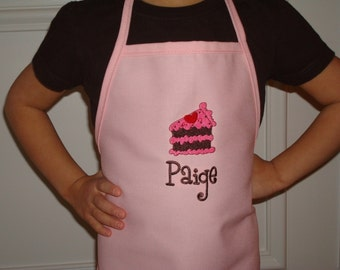 Personalized Cake slice Girls Kids pink Apron Great Christmas gift