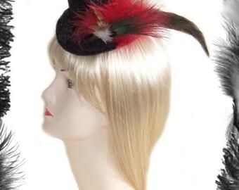 Mini Black Velvet Top Hat with Feather Plume, Burlesque, Gothic Wear