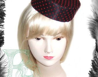 Polka Dot Pill Box Hat, Retro, Rockabilly, Dita, Red, Black, Pink - WITHOUT VEIL