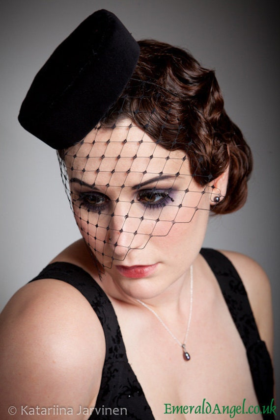 Velvet Pill Box Hat, Vintage Inspired, available in many colours, with or without veiling.