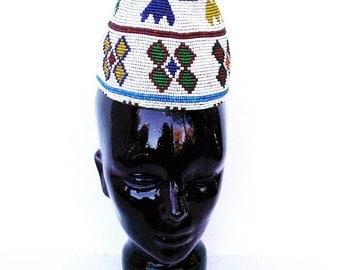 Vintage Beaded Hat, Afghanistan- Kuchi, White Beads