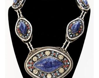Vintage Pashtun Lapis Lazuli Necklace, Afghanistan