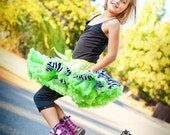 Close Out  ......sz 3 to 5y  Apple Green Zebra Print Petti Skirt ready to ship