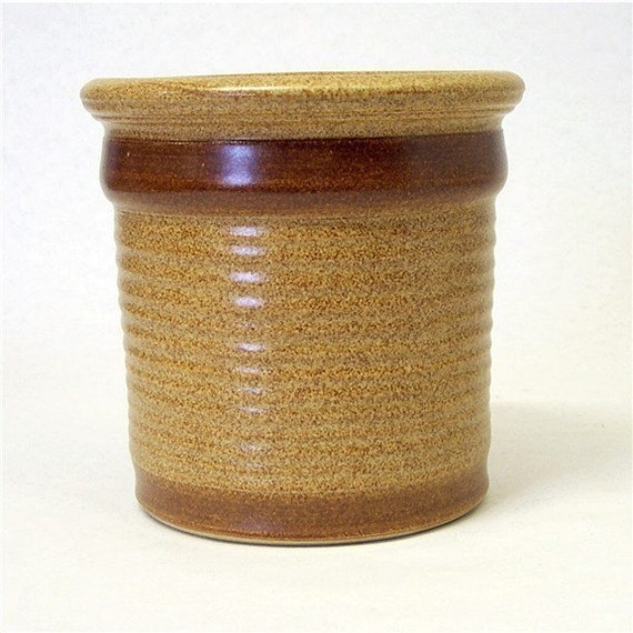 Stoneware Utensil Holder in  Warm brown with a Dark Brown Stripe (wide)