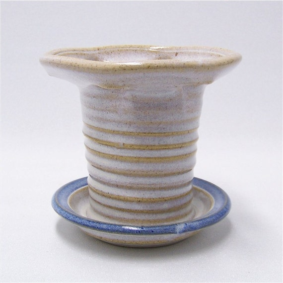 Pottery Toothbrush Holder for 6 brushes in Soft White and Blue Handmade