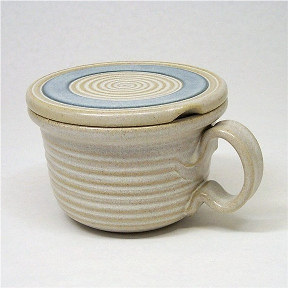 Pottery Microwave Bowl in soft white and blue (heat and serve)