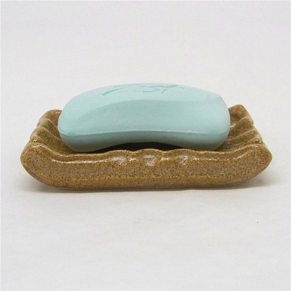 Soap Dish in Warm Brown Stoneware (altered extrusion)