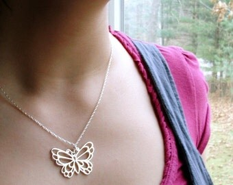Butterfly Necklace - Statement Necklace - Butterfly Jewelry - Large Sterling silver Jewelry - Gift for Her