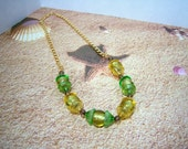 Necklace, Acorn Shaped, Glass Beads  Necklace in Yellow and Green Glass Beads,  Glass Bead Caps Shape is Like an Acorn/