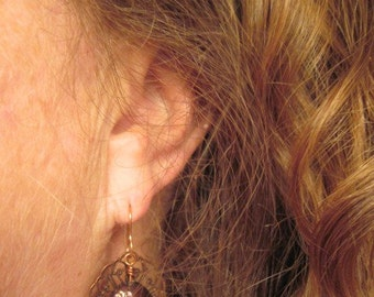 copper lace and brown peacock coin pearl dangle earrings