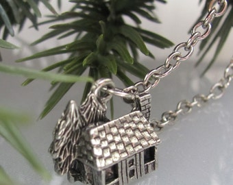 Cabin in the woods, miniature, mountain, camp, forest, pine tree, silver, charm necklace.