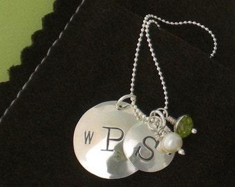 Handmade Wedding and Child Monogram Necklace Sterling
