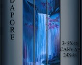 Blue Waterfall Painting 3 Canvas Slender